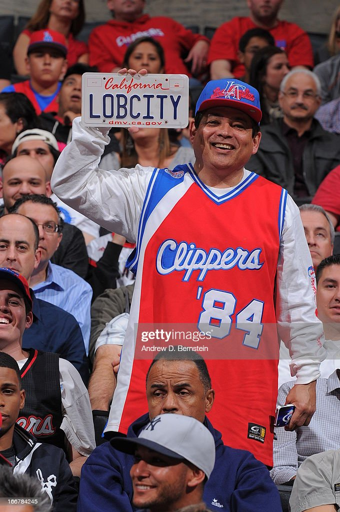 A fan holds up a sign during a game between the Los Angeles Clippers and the Portland Trail Blazers at Staples Center on April 16, 2013 in Los Angeles, California.