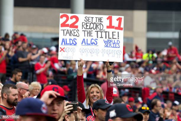 A fan holds up a sign during the 2017 American League Divisional Series Game 2 between the New York Yankees and Cleveland Indians on October 6 at...