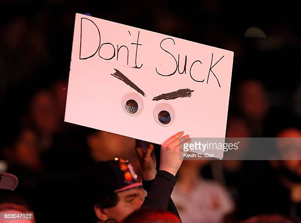 A fan holds up a sign during the ELEAGUE CounterStrike Global Offensive Major Championship finals at Fox Theater on January 29 2017 in Atlanta Georgia