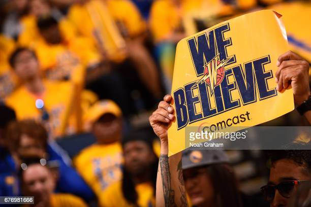 Fan holds up a sign during the game between the Golden State Warriors and the Utah Jazz during Game One of the Western Conference Semifinals of the...