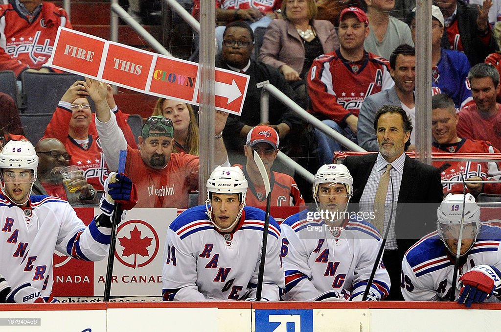 A fan holds up a sign during the game between the Washington Capitals and the New York Rangers in Game One of the Eastern Conference Quarterfinals during the 2013 NHL Stanley Cup Playoffs at Verizon Center on May 2, 2013 in Washington, DC.