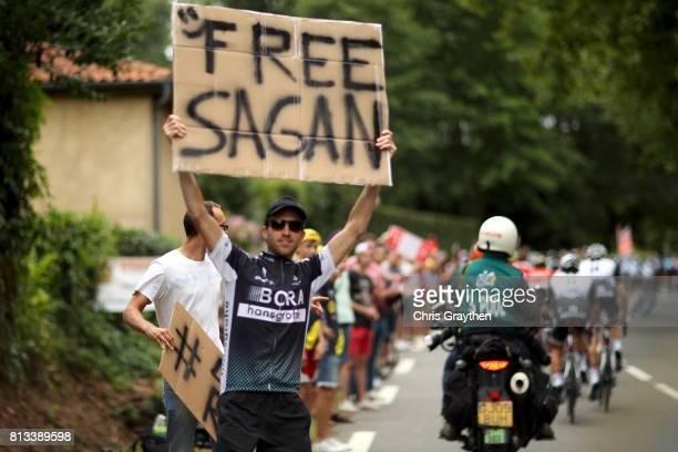 A fan holds up a sign for Peter Sagan of Slovakia riding for BoraHansgrohe during stage 11 of the 2017 Le Tour de France a 2035km stage from Eymet to...