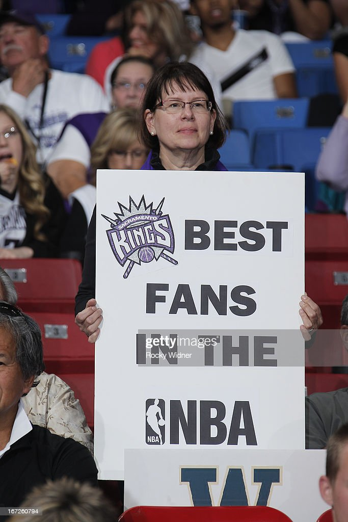 A fan holds up a sign supporting the Sacramento Kings during the game against the Los Angeles Clippers on April 17, 2013 at Sleep Train Arena in Sacramento, California.