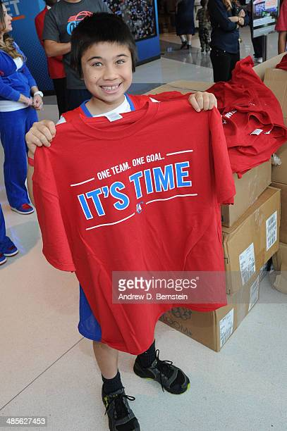 A fan holds up a tshirt before Game One of the Western Conference Quarterfinals of the NBA Playoffs between the Los Angeles Clippers and the Golden...
