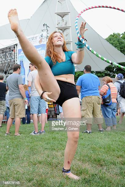 A fan hulahoops during the 2012 Bunbury Music Festival at Yeatman's Cove Park on July 13 2012 in Cincinnati Ohio