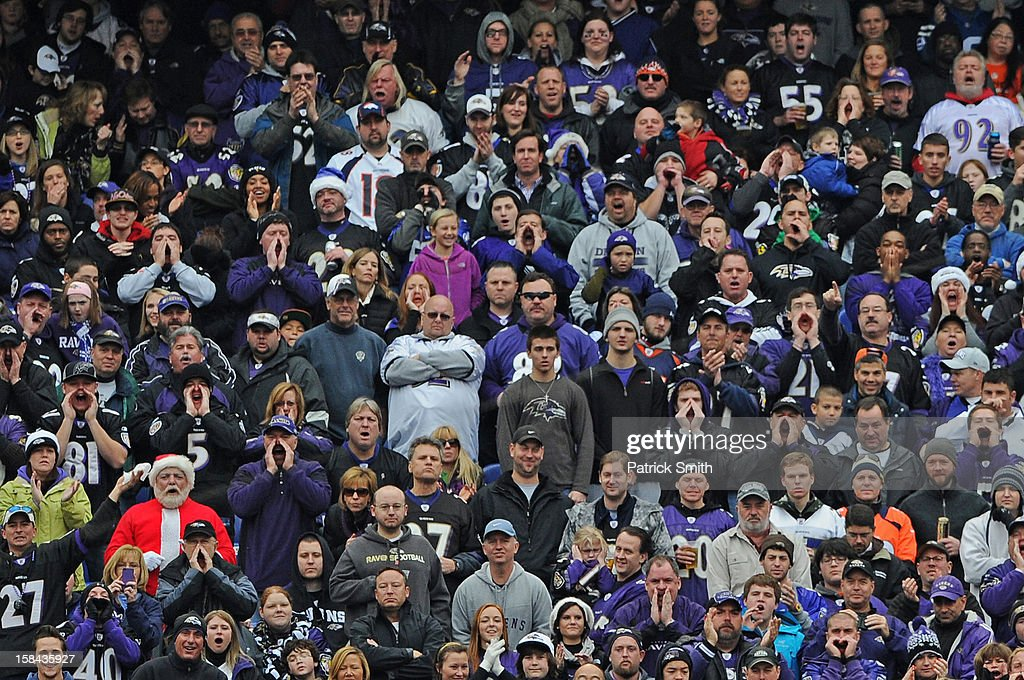 A fan is dressed up as Santa Claus during an NFL game between the Baltimore Ravens and the Denver Broncos at M&T Bank Stadium on December 16, 2012 in Baltimore, Maryland. The Denver Broncos won, 34-17.