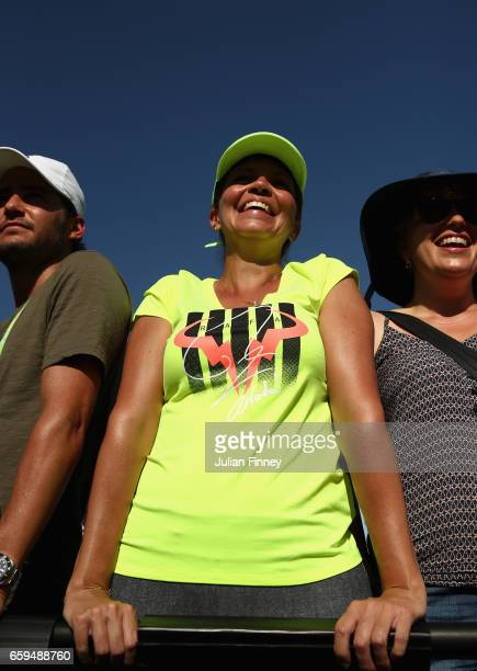 A fan is seen after Rafael Nadal of Spain's win over Nicolas Mahut of France at Crandon Park Tennis Center on March 28 2017 in Key Biscayne Florida
