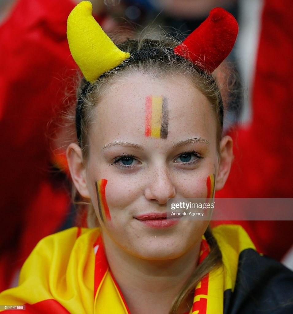 A fan is seen during the Euro 2016 quarter-final football match between Wales and Belgium at the Stadium Pierre Mauroy in Lille, France on July 1, 2016.