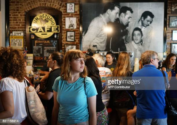 A fan is seen inside the cafe at Sun Studio where Elvis Presley made his first recordings on August 13 2017 in Memphis Tennessee Forty years after...