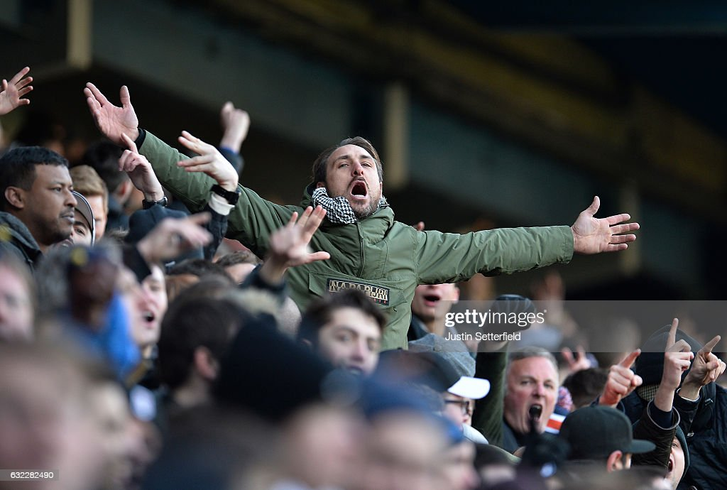 A fan is seen shouting during the Sky Bet Championship match between Queens Park Rangers and Fulham at Loftus Road on January 21, 2017 in London, England.