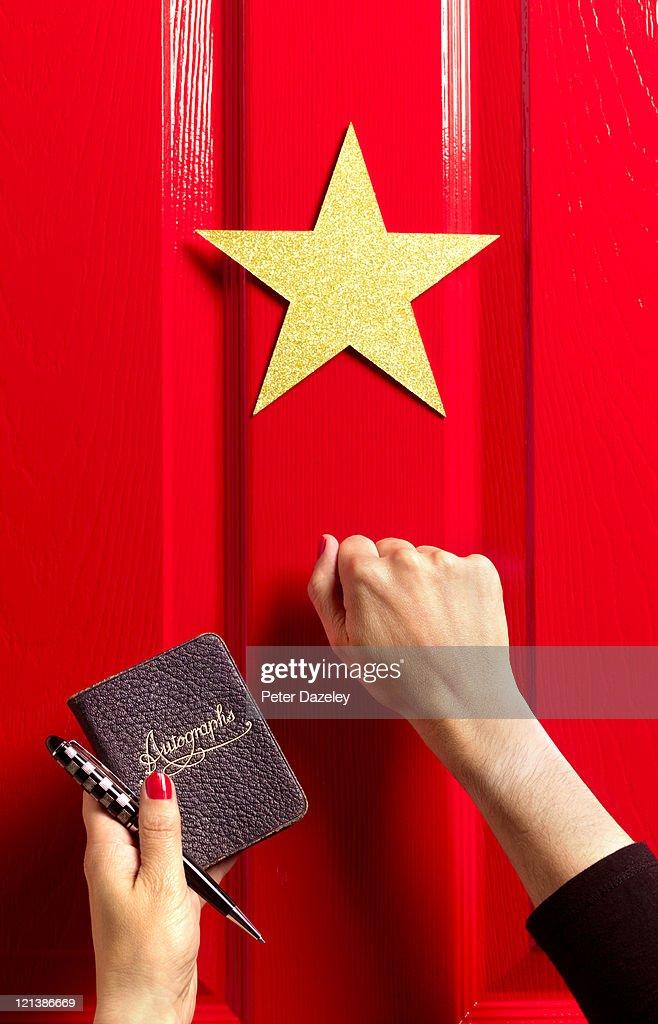 Fan knocking on star's dressing room door