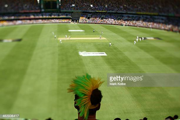 A fan looks on during day two of the First Ashes Test match between Australia and England at The Gabba on November 22 2013 in Brisbane Australia