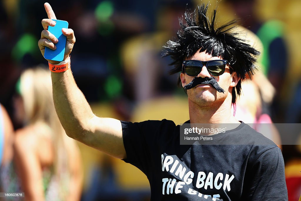 A fan looks on during the 2013 Wellington Sevens at Westpac Stadium on February 2, 2013 in Wellington, New Zealand.