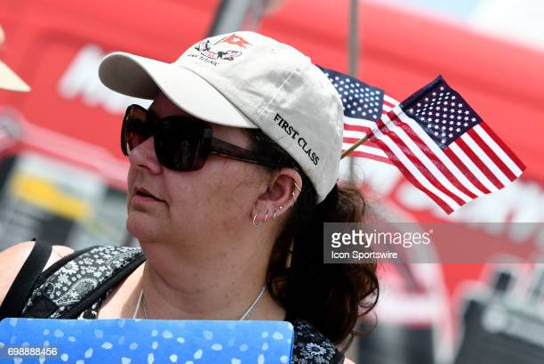 A fan looks on during the driver autograph session for the NASCAR Camping World Truck Series Drivin' for Linemen 200 on June 17 at Gateway...