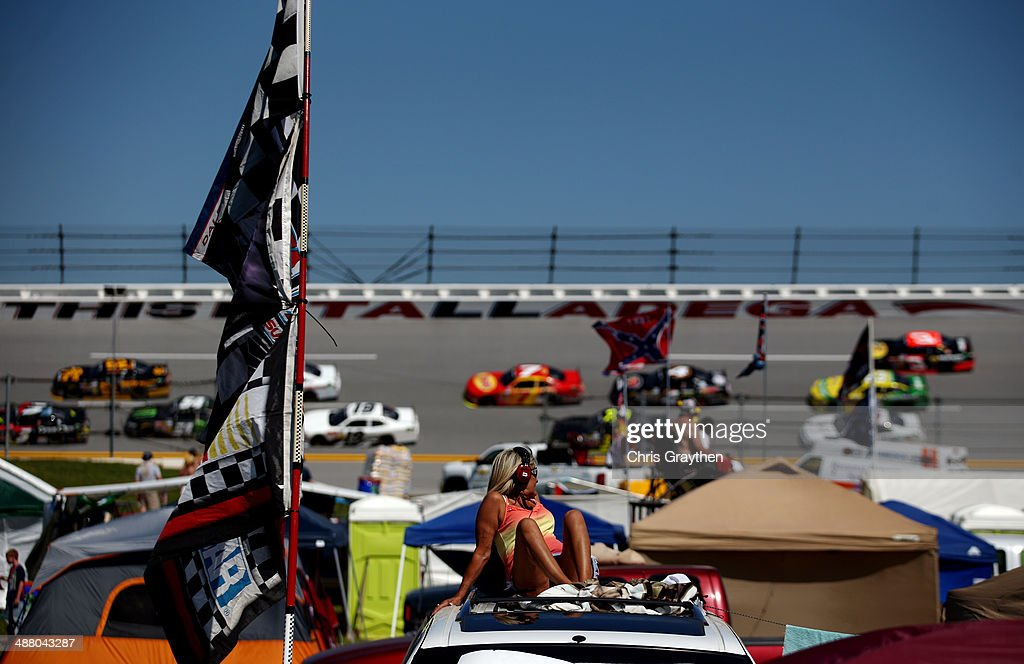 A fan looks on during the NASCAR Nationwide Series Aaron's 312 at Talladega Superspeedway on May 3, 2014 in Talladega, Alabama.