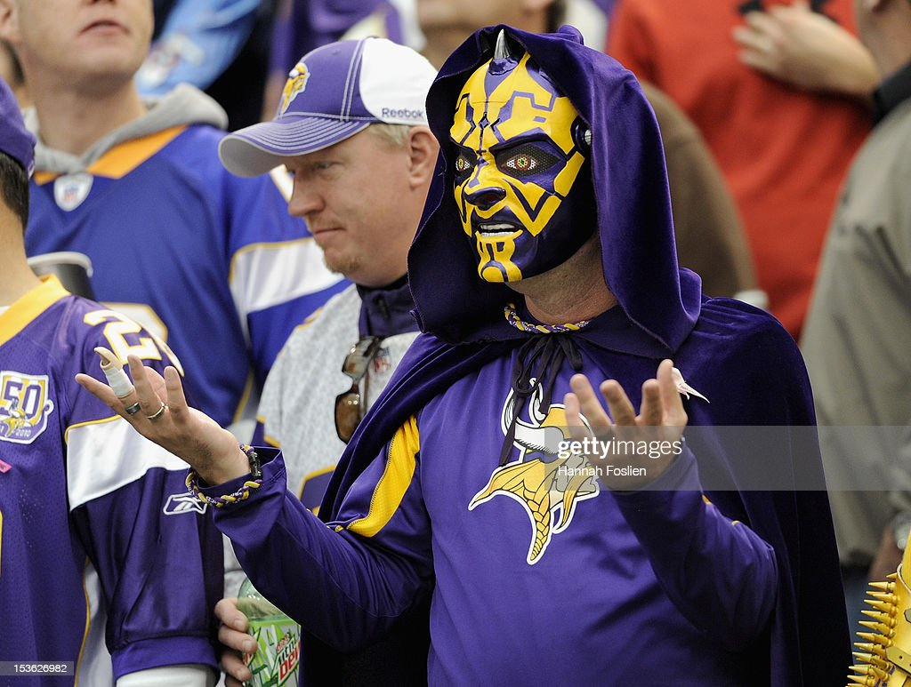 A fan looks on in the crowd during the first quarter of the game between the Minnesota Vikings and the Tennessee Titans on October 7, 2012 at Mall of America Field at the Hubert H. Humphrey Metrodome in Minneapolis, Minnesota.