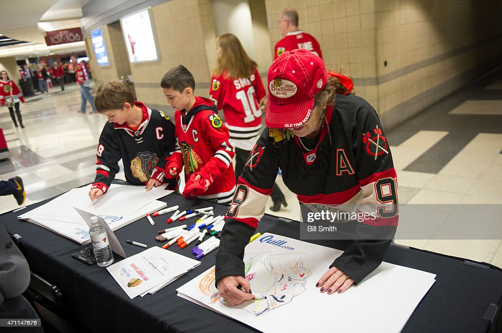 A fan makes a sign prior to Game Six of the Western Conference Quarterfinals between the Nashville Predators and the Chicago Blackhawks during the 2015 NHL Stanley Cup Playoffs at the United Center on April 25, 2015 in Chicago, Illinois.