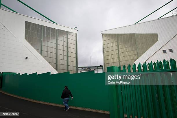 A fan making his way towards the East Stand at Easter Road stadium before the Scottish Championship match between Hibernian and visitors Alloa...