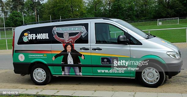 DFB fan mobil is seen before the international friendly match between Germany and Brazil at the Commerzbank Arena on April 22 2009 in Frankfurt am...