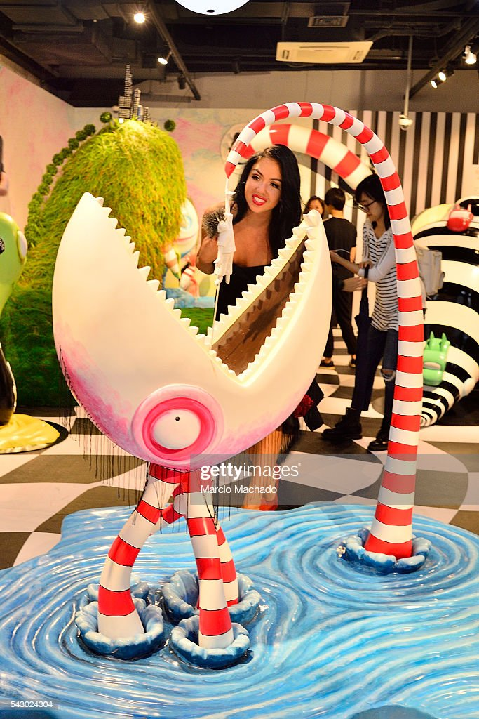 A fan observes artworks at the exposition The World of Tim Burton on June 25, 2016 in Shanghai, China.