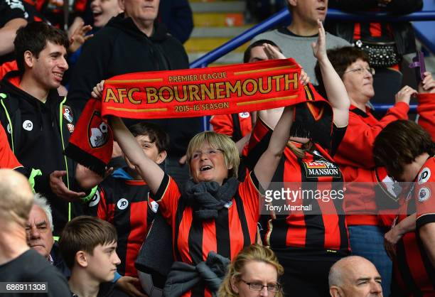 A fan of AFC Bournemouth during the Premier League match between Leicester City and AFC Bournemouth at The King Power Stadium on May 21 2017 in...