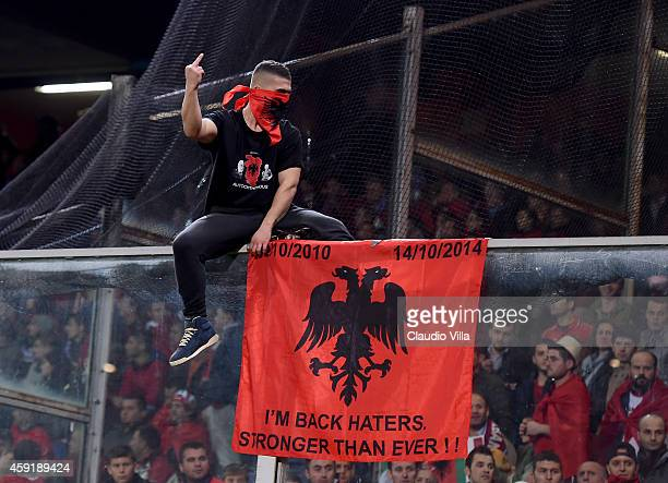 A fan of Albania is seen prior to the International Friendly match between Italy and Albania at Luigi Ferraris on November 18 2014 in Genoa Italy