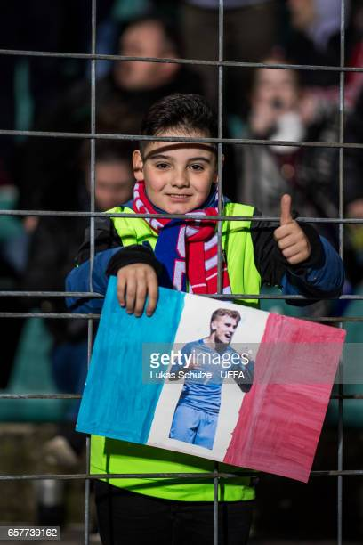 A fan of Antoine Griezmann looks up during the FIFA 2018 World Cup Qualifier between Luxembourg and France at Stade Josy Barthel on March 25 2017 in...