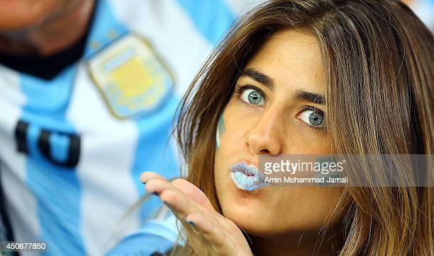 A fan of Argentina blows a kiss during the 2014 FIFA World Cup Brazil Group F match between Argentina and BosniaHerzegovina at Maracana on June 15...