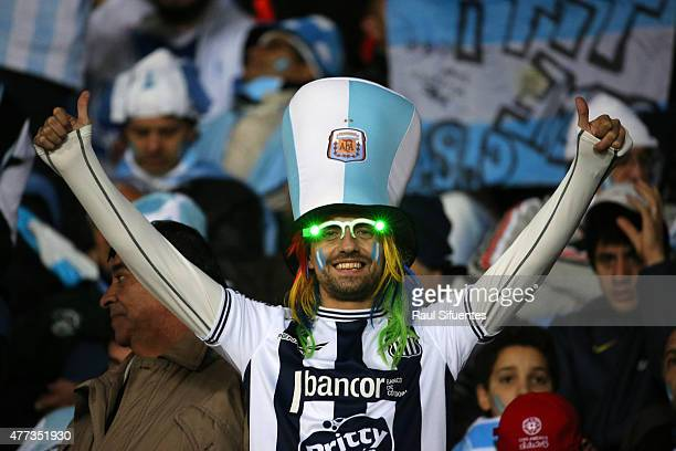 A fan of Argentina enjoys the atmosphere prior the 2015 Copa America Chile Group B match between Argentina and Uruguay at La Portada Stadium on June...