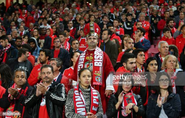 A fan of Benfica dressed as a member of the church during the UEFA Champions League group A match between SL Benfica and Manchester United at Estadio...