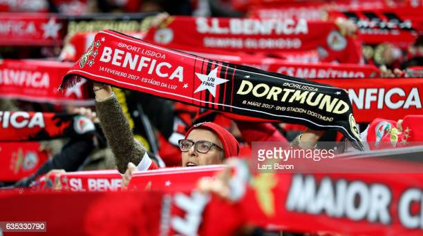 A fan of Benfica is seen during the UEFA Champions League Round of 16 first leg match between SL Benfica and Borussia Dortmund at Estadio da Luz on...