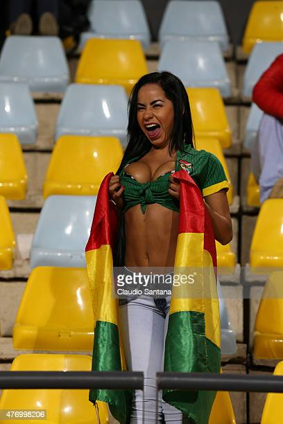 A fan of Bolivia poses for the press prior the 2015 Copa America Chile Group A match between Mexico and Bolivia at Sausalito Stadium on June 12 2015...