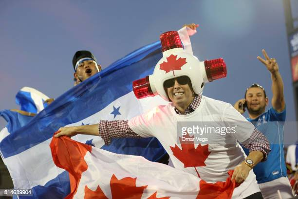 A fan of Canada cheers during the CONCACAF Gold Cup Group A match between Canada and Honduras at Toyota Stadium on July 14 2017 in Frisco Texas