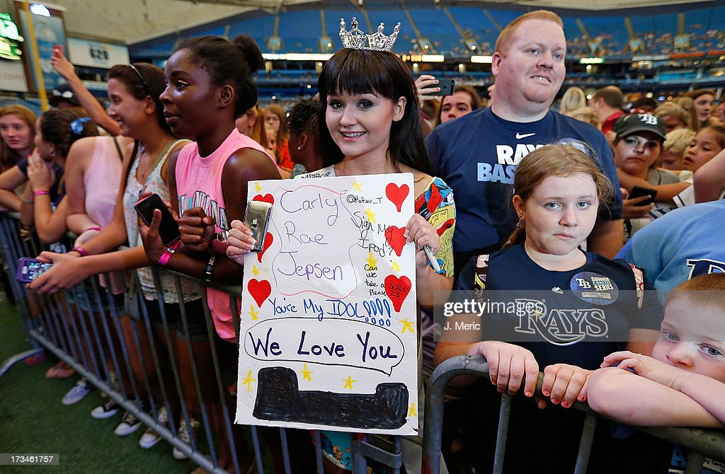 A fan of Carly Rae Jepsen just before she performs during the Rays Summer Concert Series at Tropicana Field on July 14, 2013 in St Petersburg, Florida.