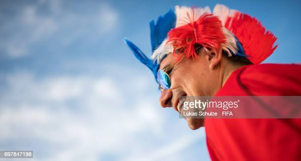 A fan of Chile looks up prior to the FIFA Confederations Cup Russia 2017 Group B match between Cameroon and Chile at Spartak Stadium on June 18 2017...