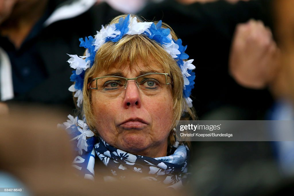 A fan of Duisburg looks dejected during the Second Bundesliga play-off second leg match between MSV Duisburg and Wuerzburger Kickers at Schauinsland-Reisen-Arena on May 24, 2016 in Duisburg, Germany.