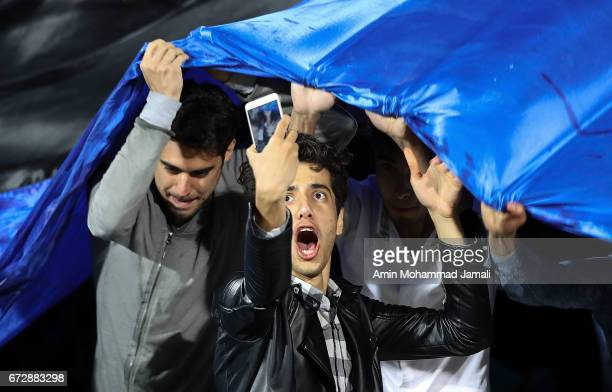 fan of Esteghlal looks on during AFC Champions League match between Esteghlal vs Al Ahli FC at Azadi Stadium on April 25 2017 in Tehran Iran