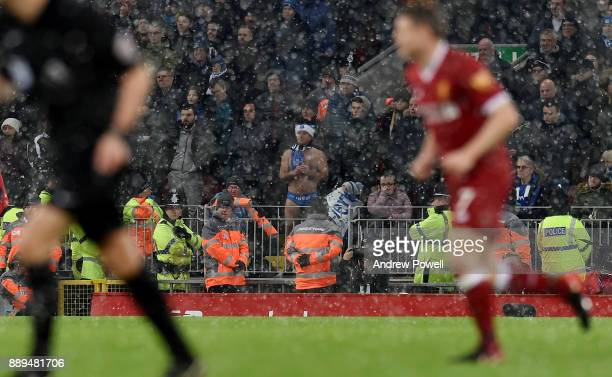Fan of Everton during the Premier League match between Liverpool and Everton at Anfield on December 10 2017 in Liverpool England