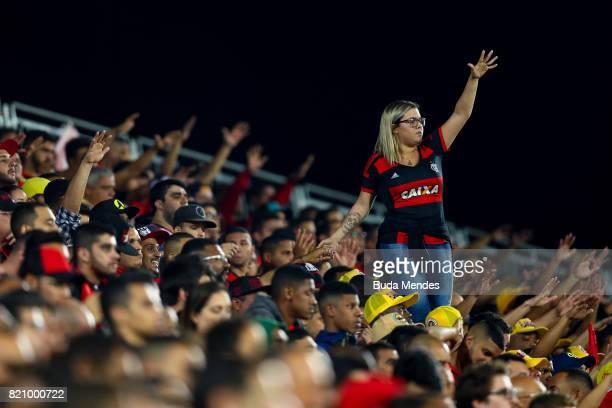 A fan of Flamengo vibrates during a match between Flamengo and Coritiba as part of Brasileirao Series A 2017 at Ilha do Urubu Stadium on July 22 2017...