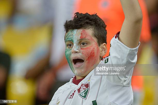 A fan of Fluminense during the match between Flamengo and Fluminense for the Brazilian Series A 2013 at Maracana on November 3 2013 in Rio de Janeiro...