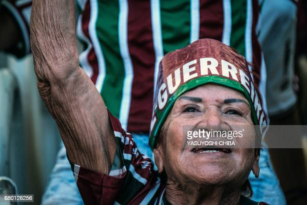 A fan of Fluminense reacts before their Copa Carioca final football match against Flamengo at Maracana stadium in Rio de Janeiro Brazil on May 7 2017...