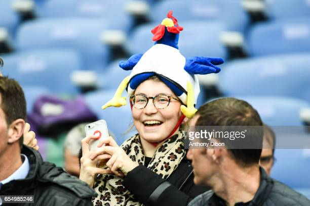 Fan of France during the RBS Six Nations match between France and Wales at Stade de France on March 18 2017 in Paris France