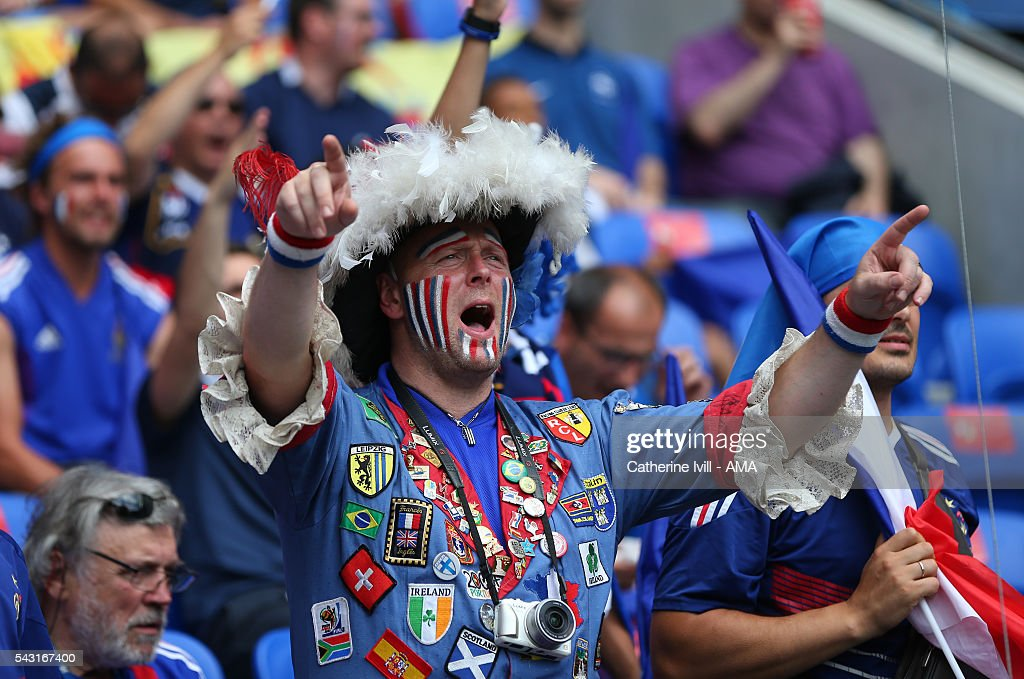 A fan of France during the UEFA EURO 2016 Round of 16 match between France and Republic of Ireland at Stade des Lumieres on June 26, 2016 in Lyon, France.