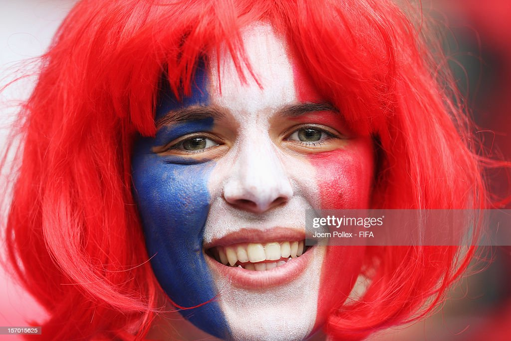 A fan of France is pictured prior to the Women's Football Semi Final match between France and Japan on Day 10 of the London 2012 Olympic Games at at Wembley Stadium on August 6, 2012 in London, England.