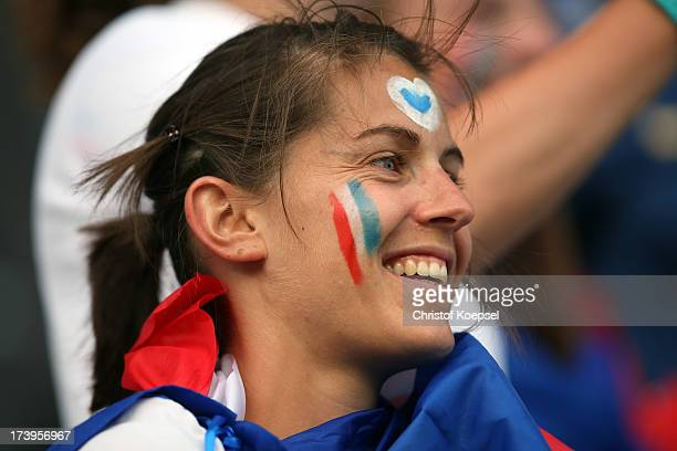 A fan of France looks on prior to the UEFA Women's EURO 2013 Group C match between France and England at Linkoping Arena on July 18 2013 in Linkoping...