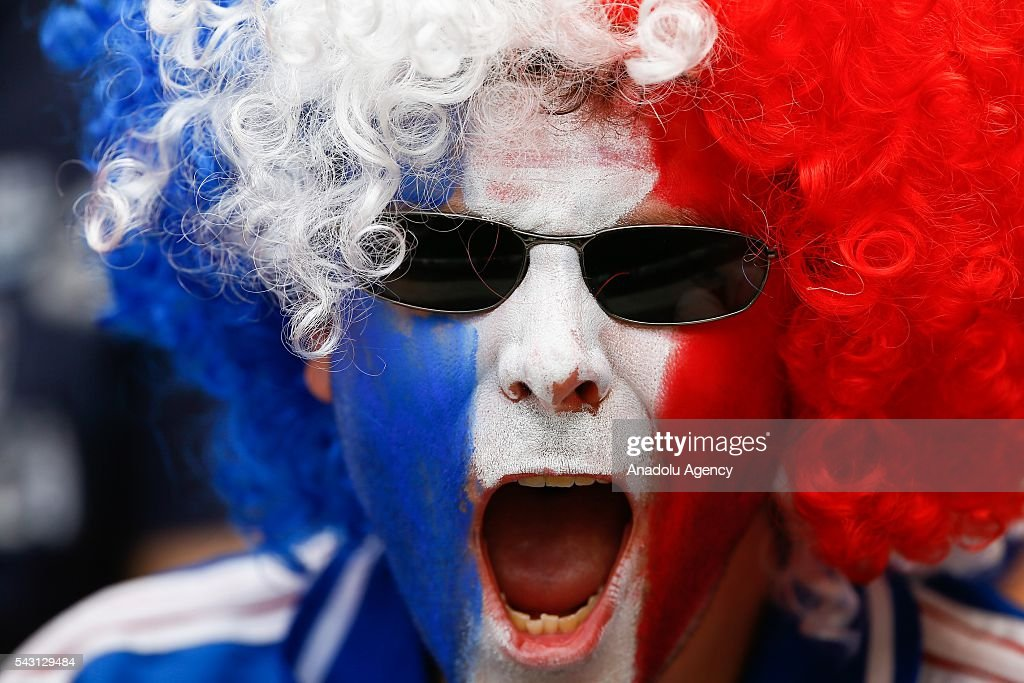 A fan of France national football team is seen ahead of the UEFA Euro 2016 Round of 16 football match between France and Ireland at the Stade de Lyon in Lyon, France on June 26, 2016.