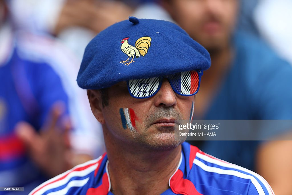 A fan of France wearing a beret before the UEFA EURO 2016 Round of 16 match between France and Republic of Ireland at Stade des Lumieres on June 26, 2016 in Lyon, France.