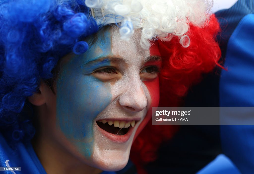 A fan of France with a painted face before the UEFA EURO 2016 Round of 16 match between France and Republic of Ireland at Stade des Lumieres on June 26, 2016 in Lyon, France.