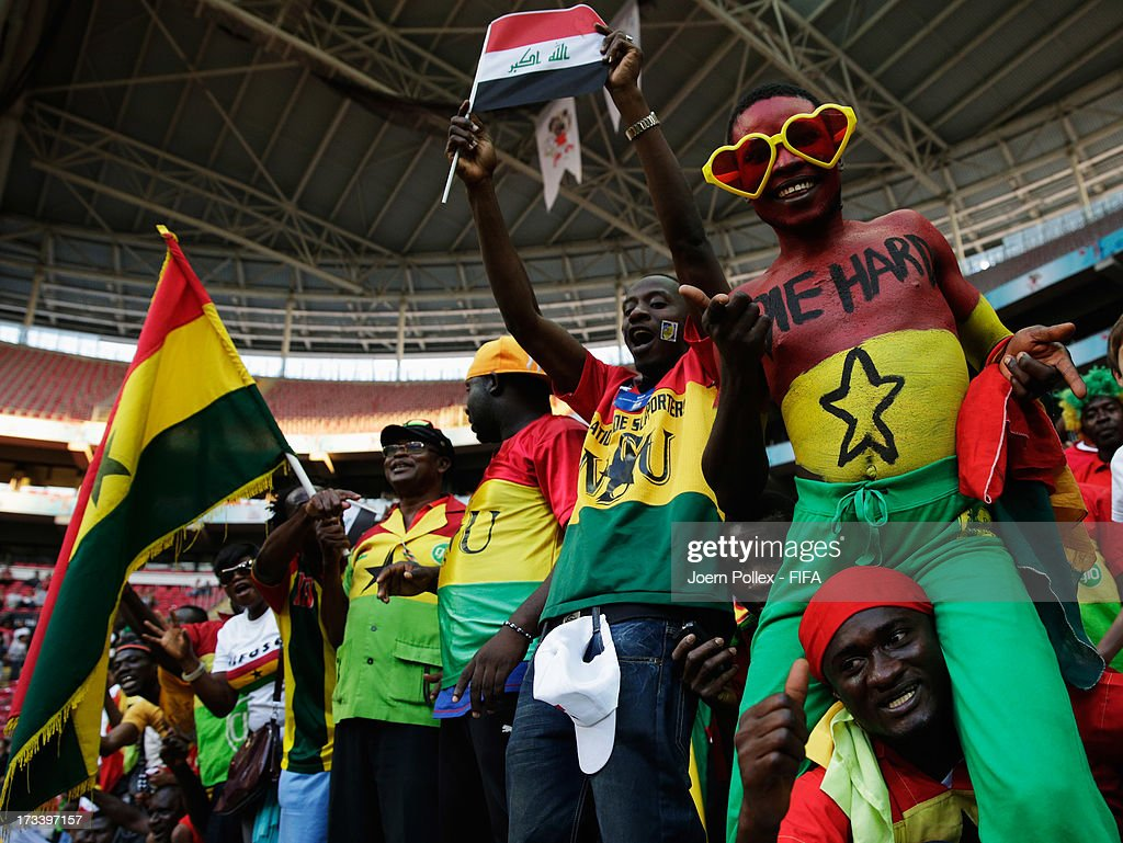 A fan of Ghana is celebrating after the FIFA U-20 World Cup 3rd Place playoff match between Ghana and Iraq at Ali Sami Yen Arena on July 13, 2013 in Istanbul, Turkey.