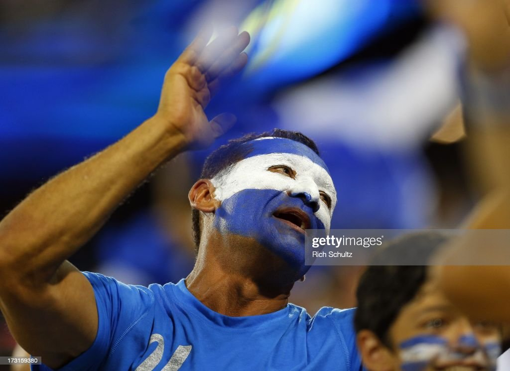 A fan of Honduras celebrates a goal during the first half against Haiti in a 2013 CONCACAF Gold Cup soccer match on July 8, 2013 at Red Bull Arena in Harrison, New Jersey. Honduras defeated haiti 2-0.